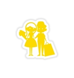 Icon sticker realistic design on paper boy girl vector