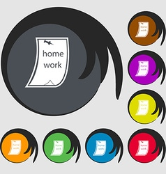 Homework icon symbols on eight colored buttons vector
