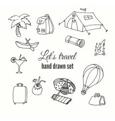Travel elements set design of traveler vector image