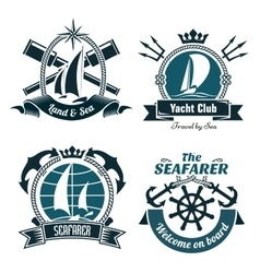 Retro marine and nautical symbols vector