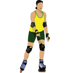 Rollerskating girl vector
