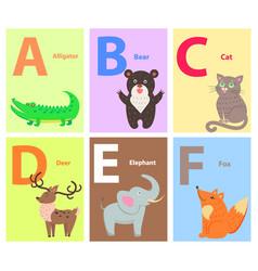 alphabet with cute cartoon animal flat set vector image vector image