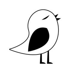 Black silhouette of bird singing vector