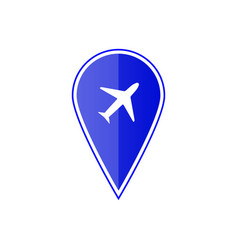 blue map pointer with air plane vector image vector image