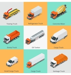 Cargo truck set icons snow plow truck small vector