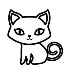 cat pet animal domestic outline vector image