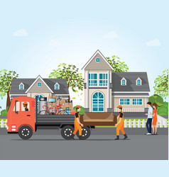 couple moving into new house vector image vector image