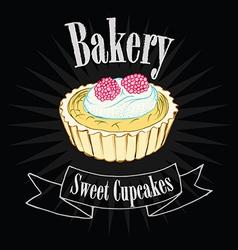 Cupcake on blackboard vector image