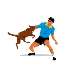Dog training biting dog and man cartoon vector
