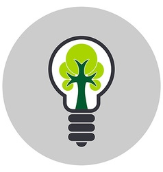 Ecological light bulb with tree inside icon vector