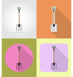 garden tools flat icons 03 vector image