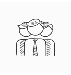 Group of businessmen sketch icon vector image