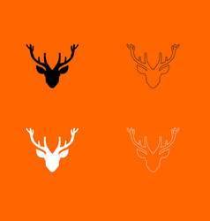 head deer black and white set icon vector image