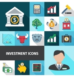 Investment Long Shadows Icon Set vector image vector image
