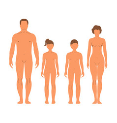 man woman boy and girl human front side vector image