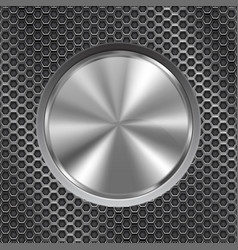 metal round button on perforated background vector image vector image