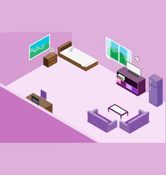Modern office interior and wooden table sofa vector