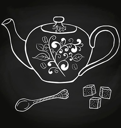 Pottery teapot sugar and spoon hand drawing vector image vector image