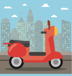 Scooter transport city night vector
