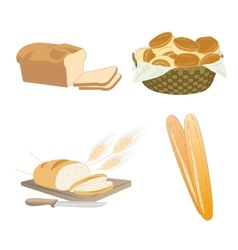 Set of cartoon food bread vector image