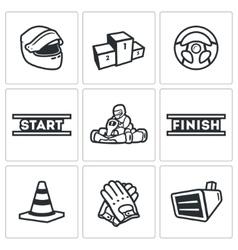 Set of karting icons helmet pedestal vector