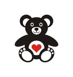 Teddy bear icon with heart vector image