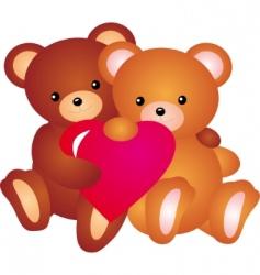 teddy bear with heart vector vector image