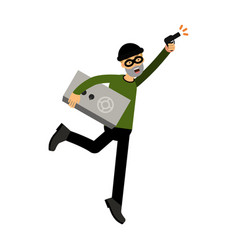 Thief character running with a safe and gun vector