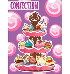 Three-storey dish of different cakes vector