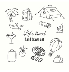 Travel elements set design of traveler vector