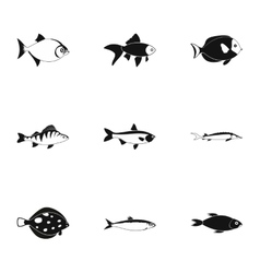 Tropical fish icons set simple style vector