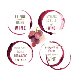 Watercolor wine type designs vector