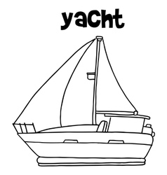 Yacht art with hand draw vector