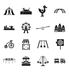 Amusement park icons set simple style vector