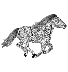 Hand drawn horse Isolated on white anti stress vector image