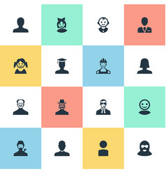 Set of simple member icons vector