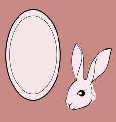 easter rabbit animal frame text vector image
