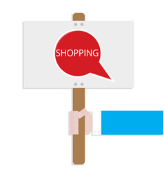Hand hold promotion banner shopping vector