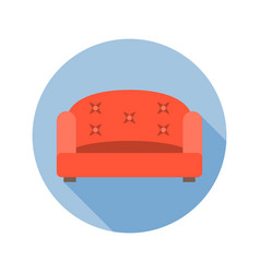 Sofa icon with long shadow vector