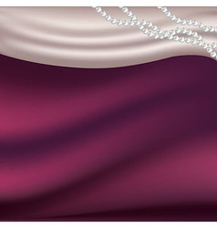 Pearls necklace on silk fabric vector