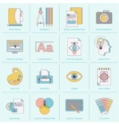 Graphic design icons flat line vector