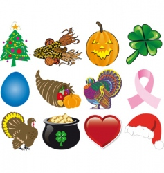 Holiday icon set vector