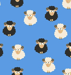 Seamless pattern with white and black sheep vector