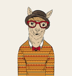 Fashion portrait of alpaca dressed up in jacquard vector