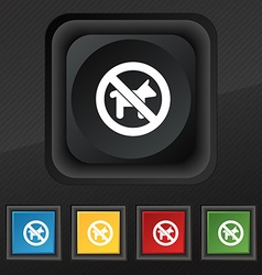 Dog walking is prohibited icon symbol set of five vector