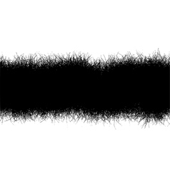Horizontal black hair fur grass line over white vector