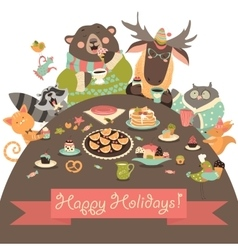 Cute animals celebrating holidays vector