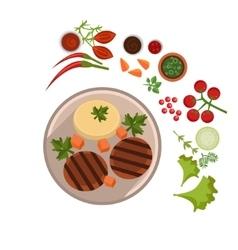 Appetizing Steak on Plate vector image