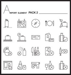 Airport element line icon set2mono pack vector