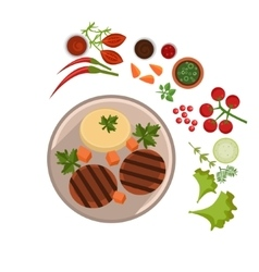 Appetizing steak on plate vector